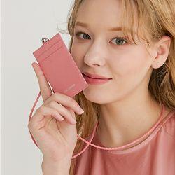 소가죽 목걸이 카드지갑 핑크
