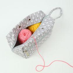 패브릭 뜨개 보조가방 뜨개프로젝트 파우치