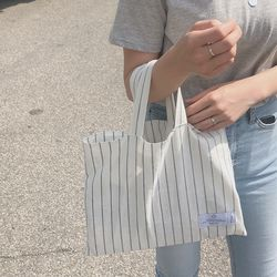 natural linen stripe square bag. ( hand made )