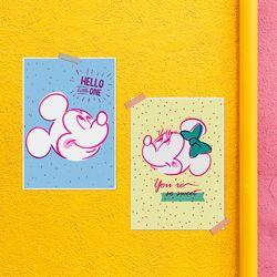 디즈니 인테리어 포스터 - 미키마우스 3종 (리소)