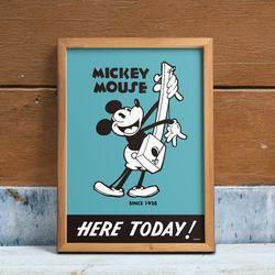 디즈니 인테리어 포스터 - 미키마우스 오늘 여기에