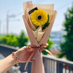 한송이 해바라기 꽃다발 - 졸업식 축하 선물