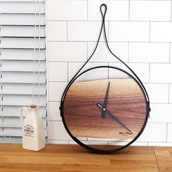 호두나무 월넛 철제프레임 원목벽시계