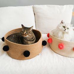 고양이 바구니 폼폼 미니 바스켓