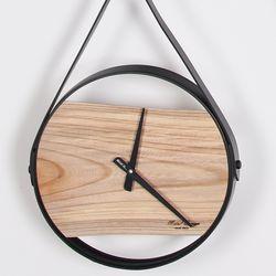 느티나무 철제프레임 원목벽시계