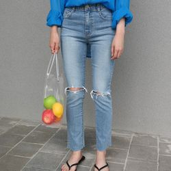 Ripped point denim pants