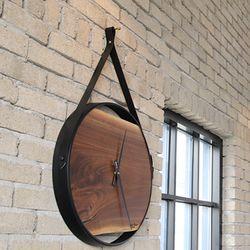 호두나무 월넛 철제프레임 대형원목벽시계
