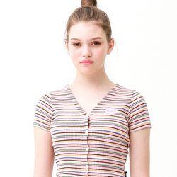 [무료배송] Color stripe half T-shirts candy pink