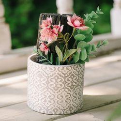 청정구역 핑크빛 꽃 숯화분-공기정화 미세먼지제거 습도조절