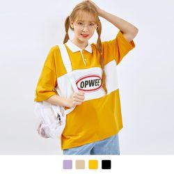 캠퍼스 배색 카라 티셔츠