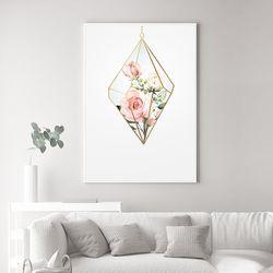 다이아몬드 장미 꽃 그림 액자 A3 포스터