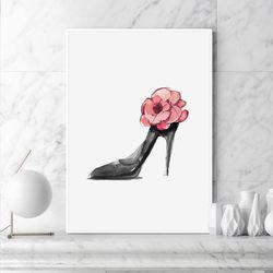 플라워 하이힐 패션 그림 액자 A3 포스터