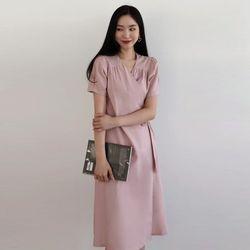 핑크 퍼프 린넨원피스 (3 colors)