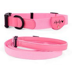 강아지 목줄 리드줄 인식표 세트 핑크