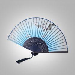 다홍 대나무 매화 부채(블루)