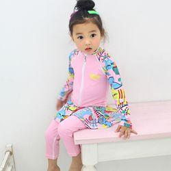 아동래쉬가드 냥냥이 핑크 집업 SKL 상하세트수영복