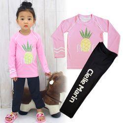 아동래쉬가드 골드 파인애플 긴팔상하 LG세트수영복
