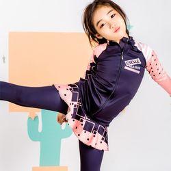 아동래쉬가드 땡땡이2 살구빛 집업 SKL 상하세트수영복