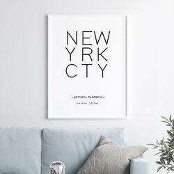 뉴욕 이니셜 액자 레터링 A3 포스터