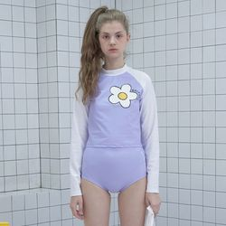 Flower point crop rash guard set-purple