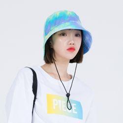 TIE-DYE STRING BUCKET HAT (BLUE)