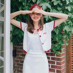 [김유정 착용] Heart Line Crop Cardigan Heart Line Band Skirt SET