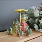 우산 쓴 앉은 개구리