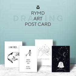 [소카테고리 변경] 아트 포스터 카드 세트 - 드로잉