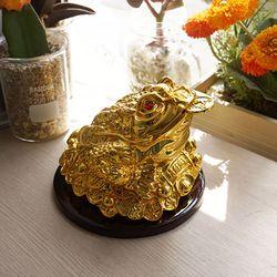 풍수 재물복 우드받침 황금 삼족두꺼비 - 특대