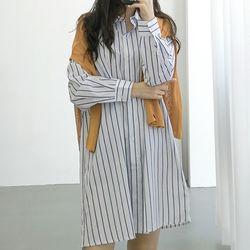 스트라이프 끈 카라 셔츠 원피스 (2color)