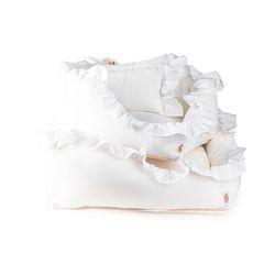 White Ruffle Cushion L