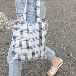 Linen summer blue bag. ( hand made )