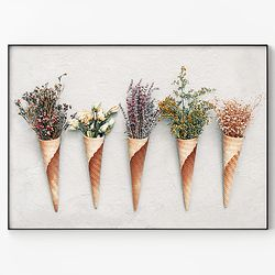 대형 메탈 감성 식물 디자인 꽃 아트 포스터 액자 들꽃 B