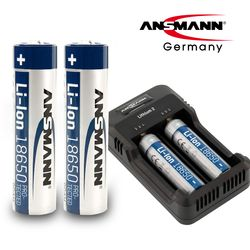 안스만 18650 충전 배터리 2개+멀티 USB 충전 거치대 SET
