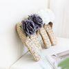 로즈플라워 왕골슬리퍼 (3color)