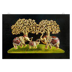 돈나무 코끼리 삼형제 인테리어 부조 액자 40x60