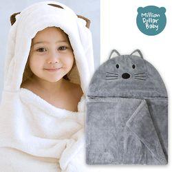 베이비 후드타올 고양이 그레이(신생아목욕타올 비치가운)