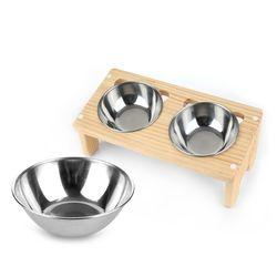 원목 애견 고양이 반려동물 식탁2구 스텐식기 세트