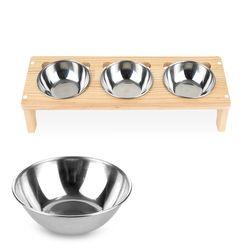 원목 애견 고양이 반려동물 식탁3구 스텐식기 세트