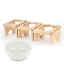 원목 애견 고양이 반려동물 식탁1구 도자기식기 세트
