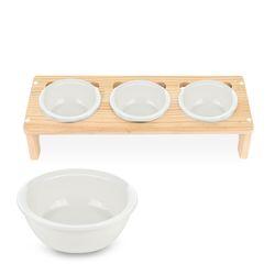 원목 애견 고양이 반려동물 식탁3구 도자기식기 세트