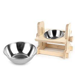 원목 애견 고양이 반려동물 높이조절 식탁1구 스텐식기 세트