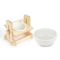 원목 애견 고양이 반려동물 높이조절 식탁1구 도자기식기 세트