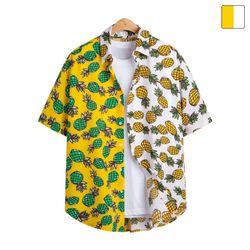오버핏 파인애플 하프 하와이안 반팔 셔츠 SHT203