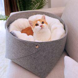 2중 벨벳 펠트 고양이 바구니 M