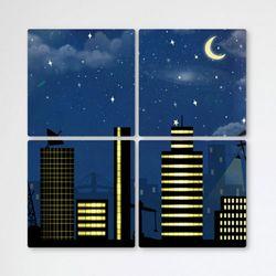 tb348-멀티액자반짝이는도시의건물들