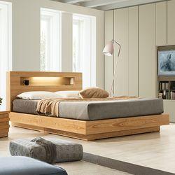 포레 천연 무늬목 LED 침대 프레임 퀸(Q)