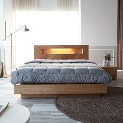 모니카 천연 무늬목 LED 침대 프레임 퀸(Q)