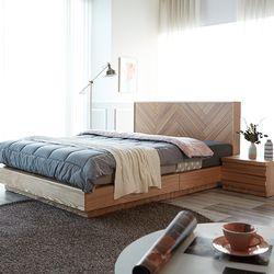 모니카 천연 무늬목 침대 프레임 퀸(Q)