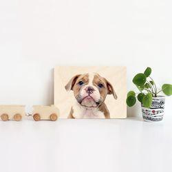 가로형 탁상용 강아지 자작나무 우드액자 28종 180x130mm